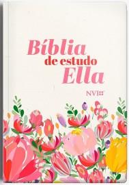 Biblia Ella Evangeliza  Rc Semi Luxo Rose Floral