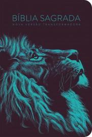 Bíblia Nvt Lion Head Turquesa capa dura
