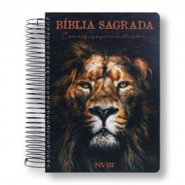 Bíblia Anote Espiral Leão Sereno  NVI espaço para anotacoes