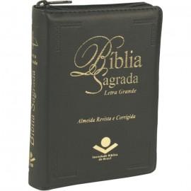 Bíblia Sagrada Letra Grande ziper preta