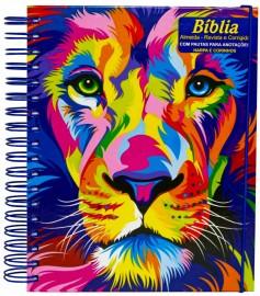 Bíblia Sagrada com Pautas para Anotações Leão Aquarela