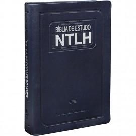 Biblia De Estudo Ntlh Media Azul Escovado Luxo