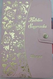 Biblia letra Gigante carteira com caneta flores CPP