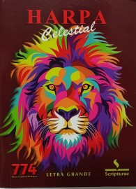 Harpa PQ. Brochura com 774 hino letra grande leão vinho