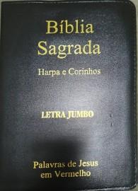 Biblia jumbo luxo com harpa Leteral Dourada cpp