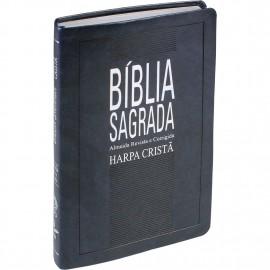 biblia mais fina rc com harpa azul nobre