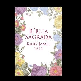 Bíblia King James 1611 - Semi Luxo Flores coloridas