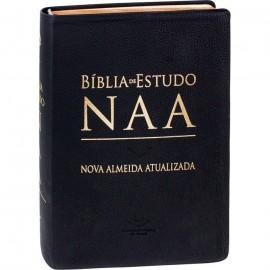 Biblia De Estudo NAA  couro legitimo Preta