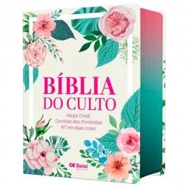 Biblia Do Culto Media Floral Harpa E Corinhos