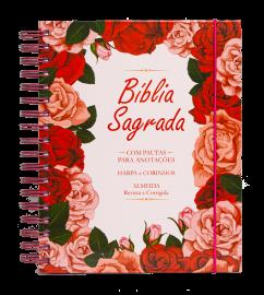 Bíblia com Pautas para Anotações – Floral Rosa