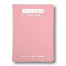 Biblia Trilingue Rosa Nude Grande Geografica