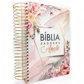 Biblia Anote Nvi Flor Aquarela Espiral