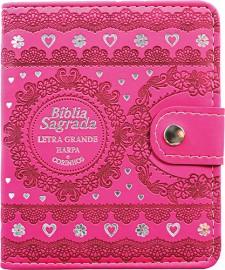 BIBLIA CARTEIRA PU LT GRANDE CR - MOD. 01 PINK