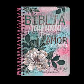 Bíblia Anote NVI espiral - Flor Artística