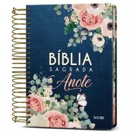Bíblia Anote Espiral Flores Jeans NVI Com Espaço Para Anotações