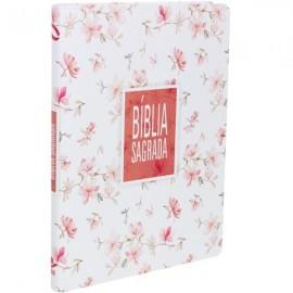 biblia nova almeida slim grande - floral branca