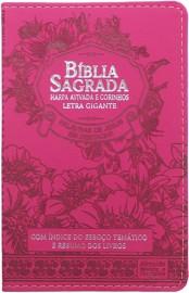 Bíblia Letra Grande Capa PU Luxo floral pink