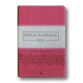 Biblia Nvi Letra Gigante Luxo Rosa E Cinza Vida
