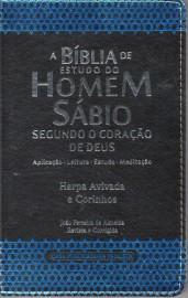 Biblia De Estudo Do Homem Sabio C Harpa Preta,Azul