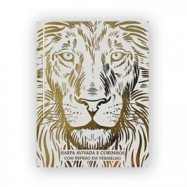 Harpa Avivada e Corinhos Médio L. Gigante leão Branco Ouro Brochura