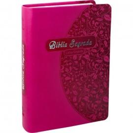 Bíblia Sagrada Letra Grande luxo rosa pink