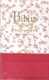 Biblia Hiper Gigante Plus Bicolor Luxo Com  Harpa Rc  Branca-Pink