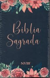Biblia Nvi Capa Especial 2 cores  Rosas Capa Dura