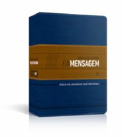 Biblia Estudo A Mensagem  Luxo Azul E Bege