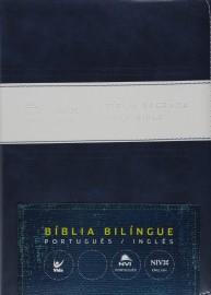 Biblia Bilingue Grande Port  Ing Azul Branco
